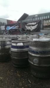 Casks lined up to mark out bike parking