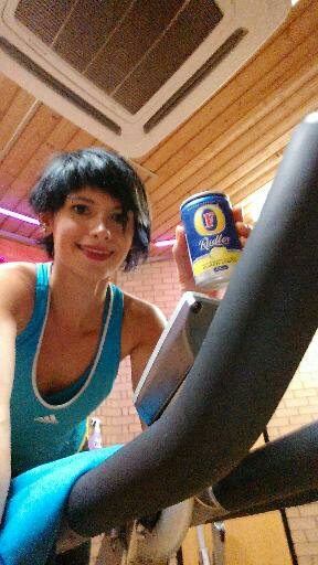 OK not beer and not a bike  (actually it's spinning class at the gym - you get the idea!)
