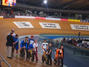 Lining up for the men's keirin. Max Levy (in the white) won both the race and best kit (I think anyway)