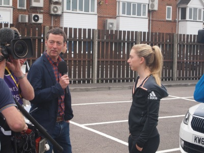 Trott prepares for an interview with Ned Boulting
